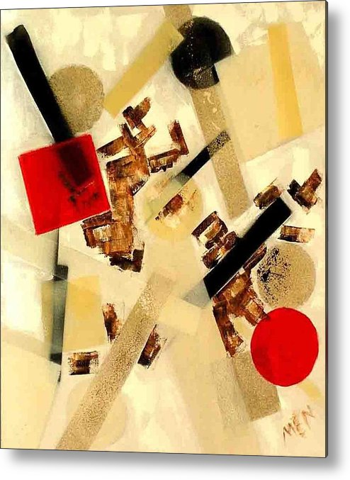 Abstract Metal Print featuring the painting 2 Red Objects by Evguenia Men