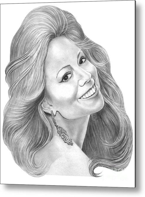 Pencil Metal Print featuring the drawing Mariah Carey by Murphy Elliott