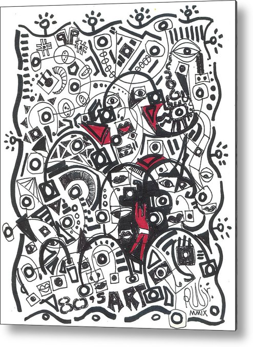 Rwjr Metal Print featuring the drawing 80 S by Robert Wolverton Jr