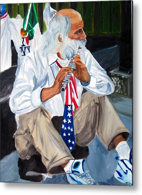 Street Musician Metal Print featuring the painting 911 Tribute by Michael Lee