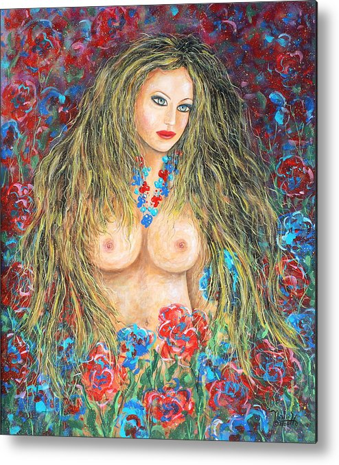 Female Metal Print featuring the painting A Woman's Heart by Natalie Holland