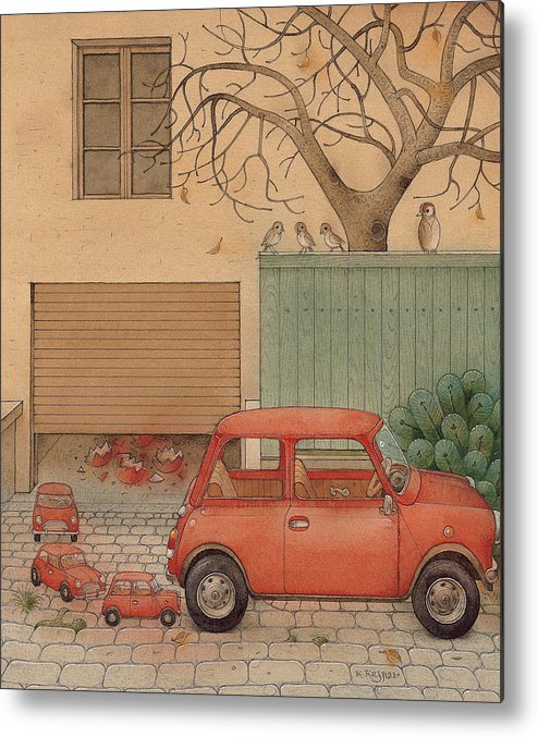 Car House Automobile Egg Red Tree Metal Print featuring the painting Automobile by Kestutis Kasparavicius