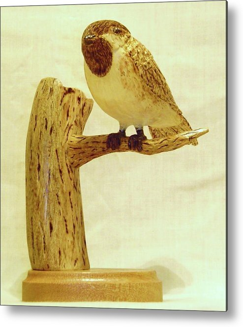 Woodcarving Metal Print featuring the sculpture Black-capped Chickadee by Russell Ellingsworth