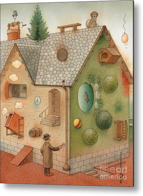 Superstition Home Green Humour Metal Print featuring the painting Black Day by Kestutis Kasparavicius