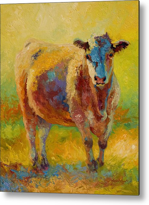 Western Metal Print featuring the painting Blondie - Cow by Marion Rose