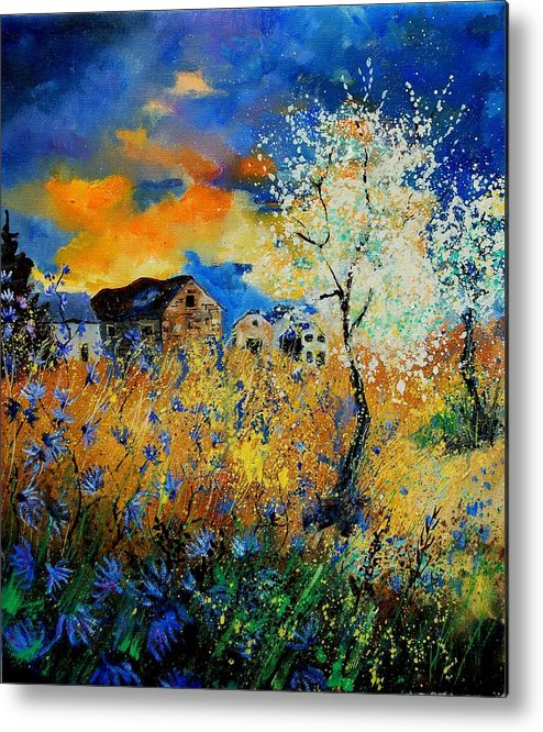 Poppies Metal Print featuring the painting Blooming Trees by Pol Ledent