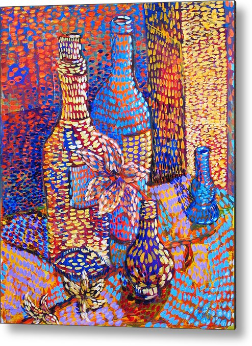 Still Life Metal Print featuring the painting Bottles And Vases by Rollin Kocsis