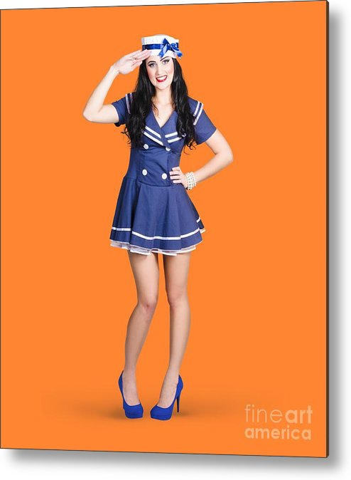 Sailor Metal Print featuring the photograph British Navy Blue Pin Up Girl Saluting by Jorgo Photography - Wall Art Gallery