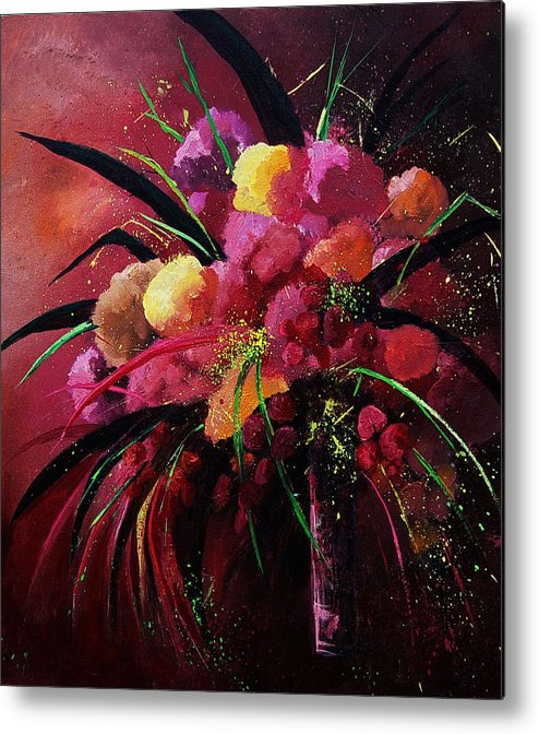 Flowers Metal Print featuring the painting Bunch Of Red Flowers by Pol Ledent