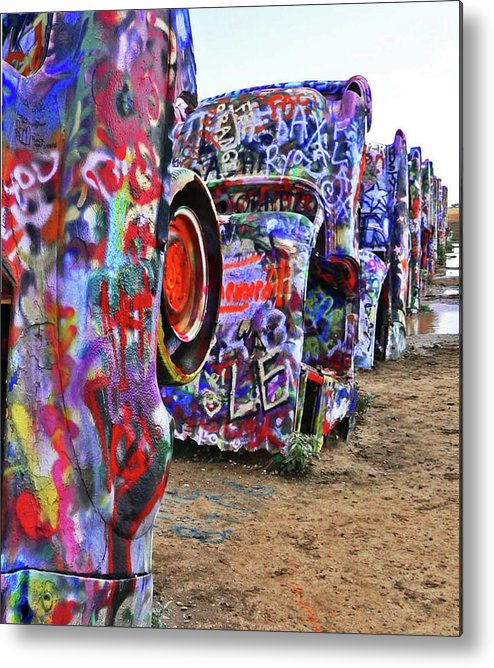 Cars Metal Print featuring the photograph Cadillac Ranch by Angela Wright