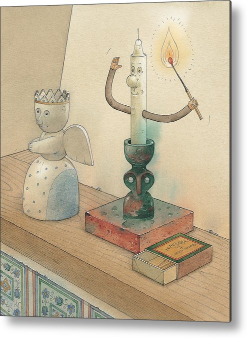 Candle Angel Evening Metal Print featuring the painting Candle by Kestutis Kasparavicius