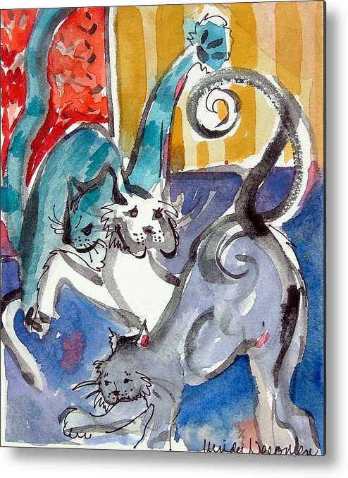 Cat Metal Print featuring the painting Cat Fight by Mindy Newman