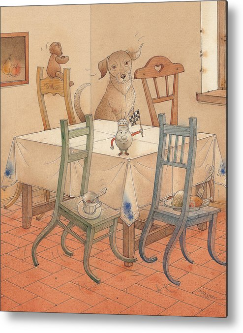 Kitchen Chair Race Dog Metal Print featuring the painting Chair Race by Kestutis Kasparavicius