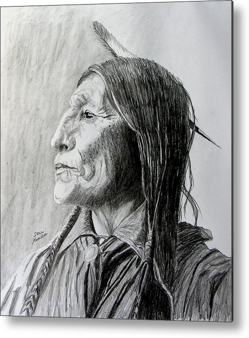 Original Drawing Metal Print featuring the drawing Chief Wolf Robe by Stan Hamilton