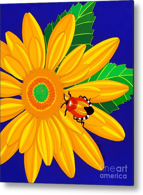 Nature Metal Print featuring the drawing Daisy And Shieldbug by Lucyna A M Green