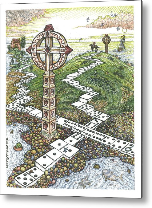 Landscape Metal Print featuring the drawing Domino Crosses by Bill Perkins