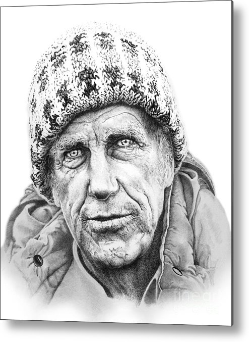 The First Man To Conquer Mount Everets Metal Print featuring the drawing Portrait Edmund Hillary by Guillermo Contreras