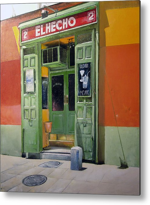 Hecho Metal Print featuring the painting El Hecho Pub by Tomas Castano
