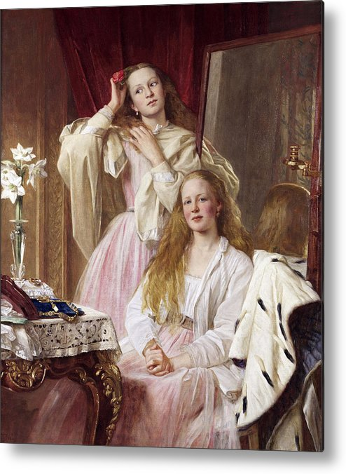 Henry Tanworth Wells Metal Print featuring the painting Emma And Federica Bankes Of Soughton Hall by Henry Tanworth Wells