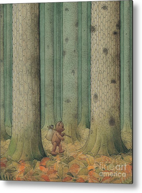 Teddybear Autumn Forest Fairy Tale Tree Melancholic Metal Print featuring the painting Exile by Kestutis Kasparavicius