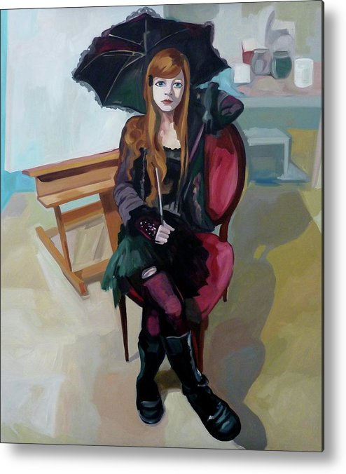 Portrait Metal Print featuring the painting Felice by Carmen Stanescu Kutzelnig