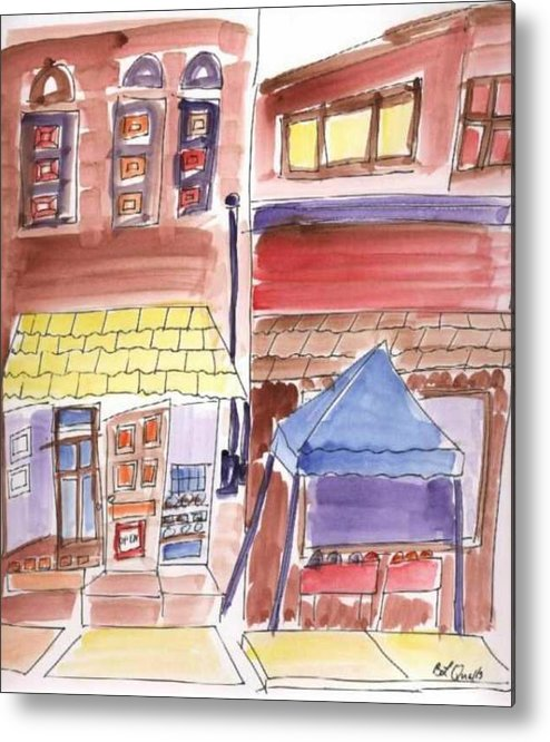 Watercolor Metal Print featuring the painting Festival In The City - 9 by B L Qualls