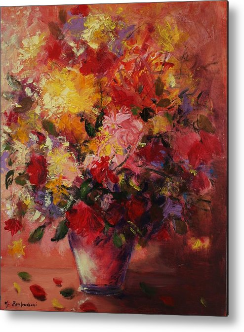 Flower Metal Print featuring the painting Flower Pot by Mario Zampedroni