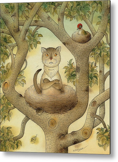 Tree Nest Cat Bird Landscape Sky Metal Print featuring the painting Flying Cat by Kestutis Kasparavicius