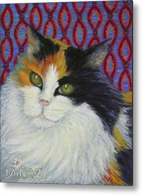 Cat Metal Print featuring the painting Fred's Cat by Minaz Jantz