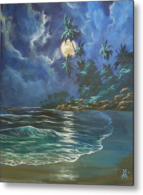 Seascape Metal Print featuring the painting Gentle Rhythms by Marco Antonio Aguilar