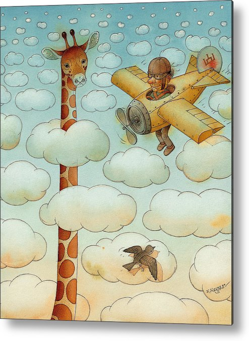 Airplane Sky Flying Giraffe Cloud Pilot Patriotizm Metal Print featuring the painting Giraffe by Kestutis Kasparavicius