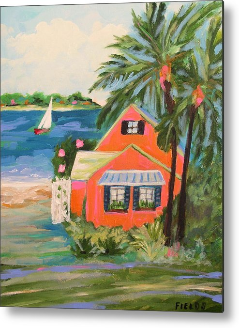 Landscape Metal Print featuring the painting Hibiscus Beach House by Karen Fields