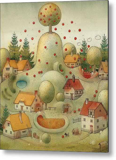 Hill Landscape House Home Apple Giant Autumn Metal Print featuring the painting Hill by Kestutis Kasparavicius
