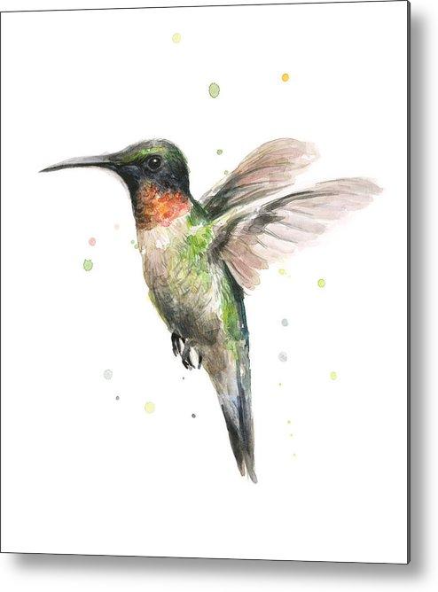 Animal Metal Print featuring the painting Hummingbird by Olga Shvartsur