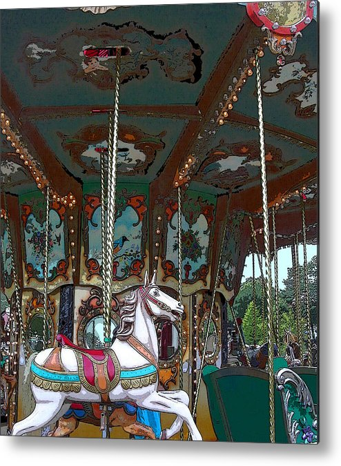 Carousel Metal Print featuring the photograph I Want The White Horse by Anne Cameron Cutri