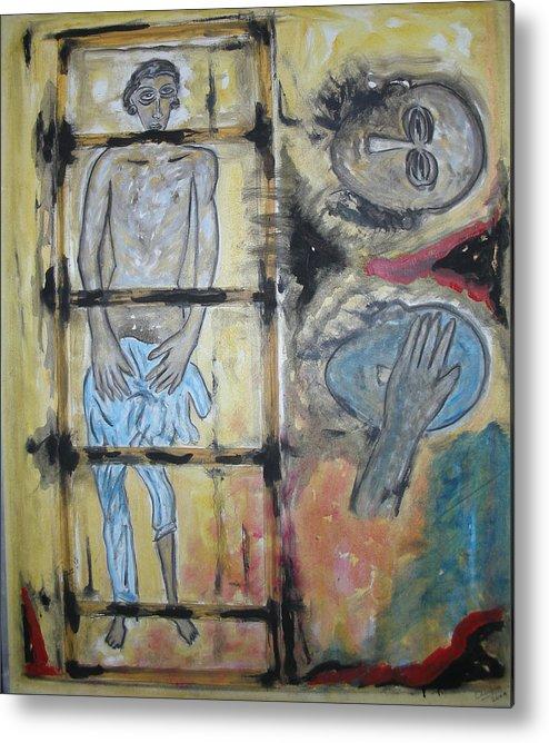 Man Metal Print featuring the painting Inhumanity by Narayanan Ramachandran