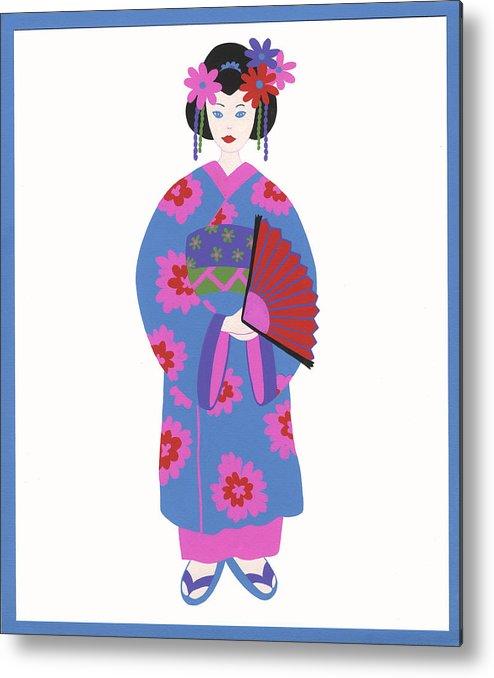 Japanese Girl Metal Print featuring the painting Japanese Girl by Barbara Leonard