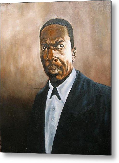 John Coltrane Jazz Portrait Metal Print featuring the painting John Coltrane by Martel Chapman