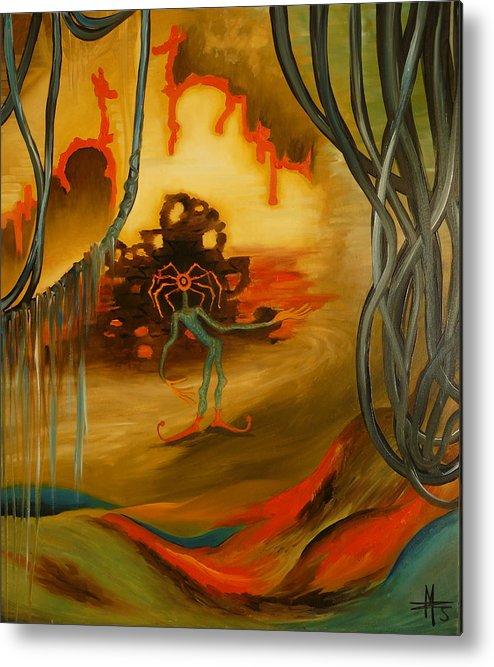 Surrealist Metal Print featuring the painting Joker by Zsuzsa Sedah Mathe
