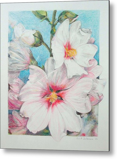 Flower Metal Print featuring the painting Lavater by Muriel Dolemieux