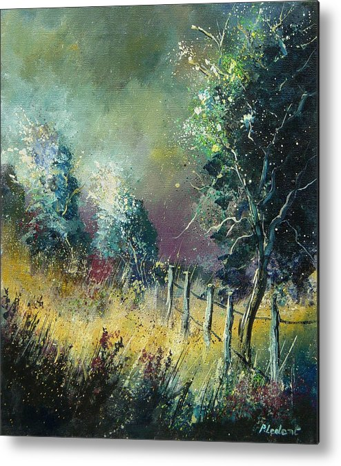 Landscape Metal Print featuring the painting Light On Trees by Pol Ledent