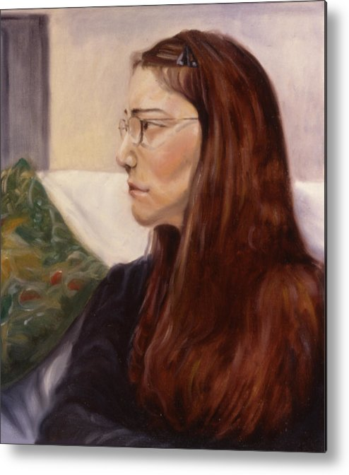 Woman Metal Print featuring the painting Lipstick by John Clum