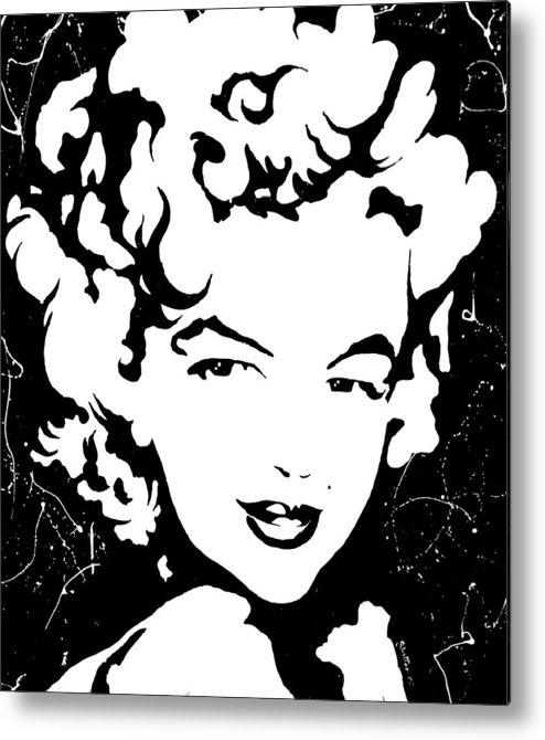 Portrait Metal Print featuring the painting Marilyn Monroe by Curtiss Shaffer