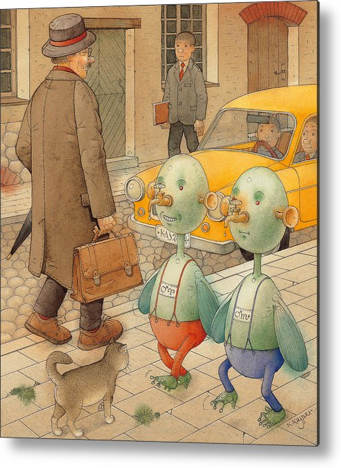 Martians Ufo Cat Street Fantastic Metal Print featuring the painting Martians by Kestutis Kasparavicius