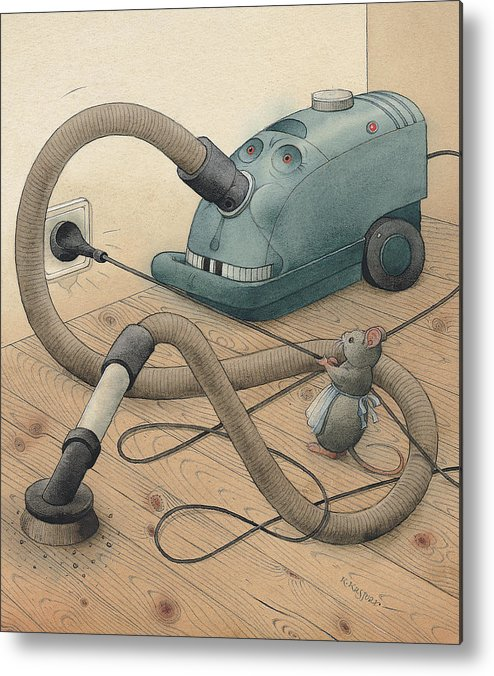 Mice Monster Vacuum-cleaner Brown Metal Print featuring the painting Mice And Monster by Kestutis Kasparavicius