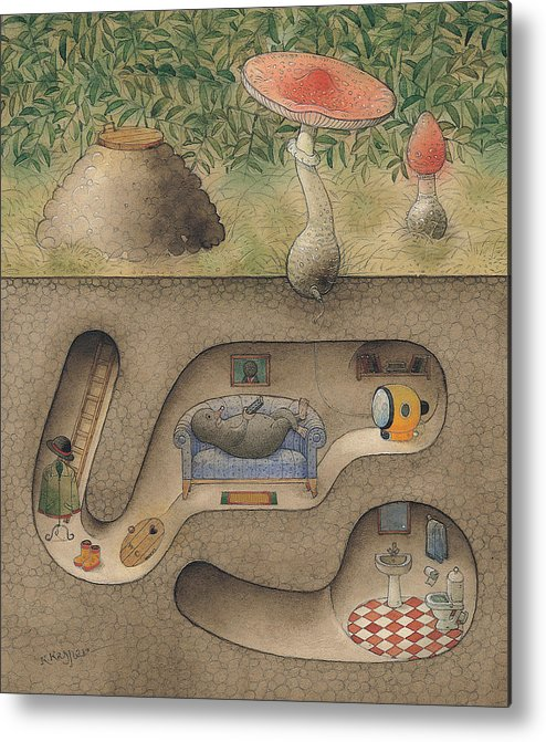Underground Mole Cellar Tv Agaric Home Relaxation Metal Print featuring the painting Mole by Kestutis Kasparavicius