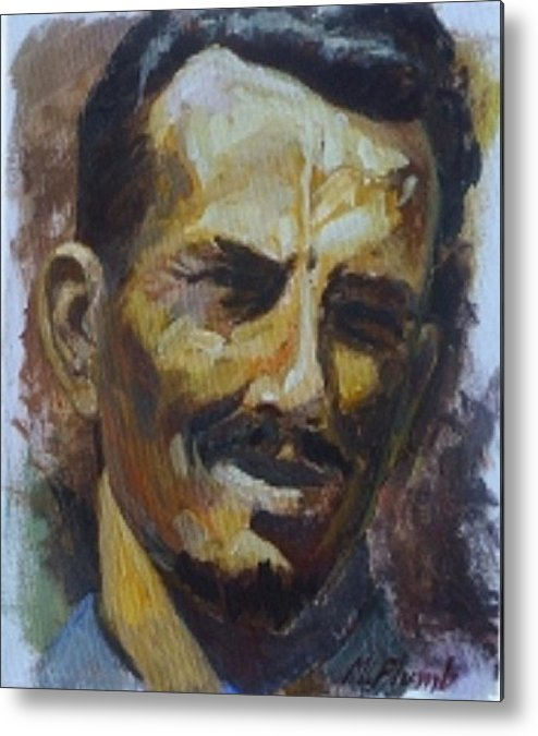 Mustache Metal Print featuring the painting My Dad by Margaret Plumb