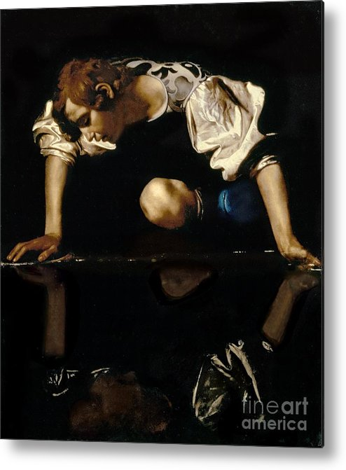 Narcissus Metal Print featuring the painting Narcissus by Caravaggio
