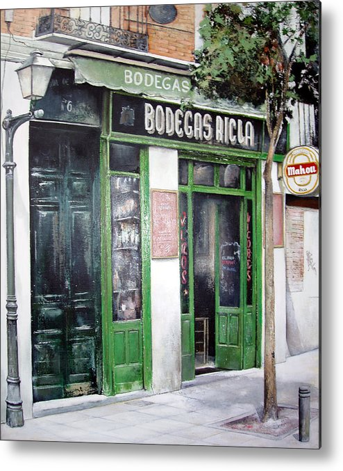 Bodegas Metal Print featuring the painting Old Tavern-madrid by Tomas Castano