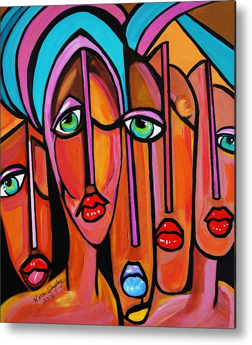 Picasso By Nora Four Eyes Metal Print featuring the painting Picasso By Nora Four Eyes by Nora Shepley